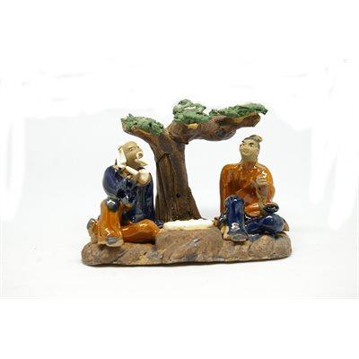 Sages (2) Orange / bleu sous l'arbre 3.5''H