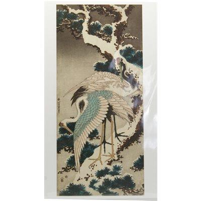 """Carte - Hokusai """"Grues sur pin enneigé"""""""