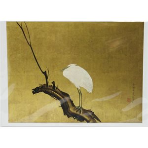 "Card - Okyo ""Heron on a branch"""