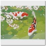 """Card - Murata, Rinzo """"Carps under the Cherry Tree"""""""
